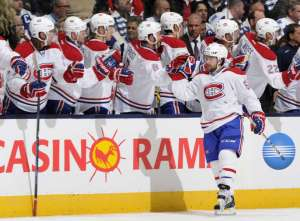 Montreal Canadiens' David Desharnais celebrates a goal against the Toronto Maple Leafs on opening night.  image courtesy nhl.com